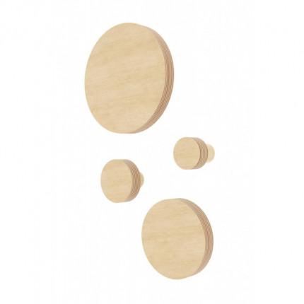 Zestaw 4 drewnianych wieszaków Nuki w kształcie koła XS, S, M, L MHW0-31