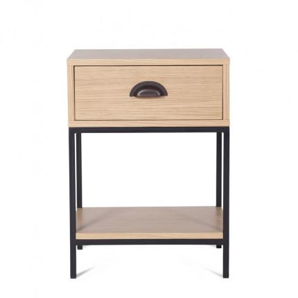 Dębowa szafka nocna z szufladą loft MHF 102