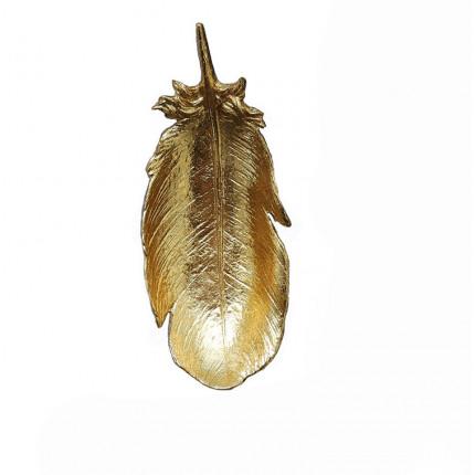 Złoty dekoracyjny talerz w kształcie pióra MHZ0-01-13