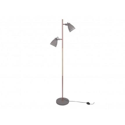 Szara lampa podłogowa z dwoma kloszami MHL0-09
