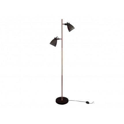 Czarna lampa podłogowa z dwoma kloszami MHL0-11