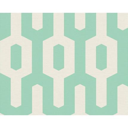 Tapeta geometryczny wzór turkusowa MHT0-126