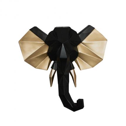 Ozdoba ścienna czarny słoń ze złotem MHD0-09-53