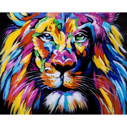 Ręcznie malowany obraz na płótnie –  Kolorowy Lew