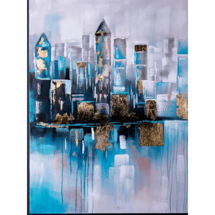 Ręcznie malowany obraz na płótnie – Miasto nocą