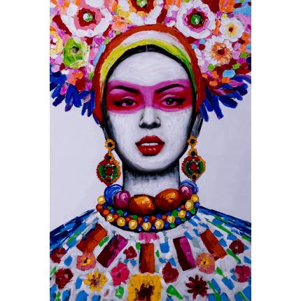 Ręcznie malowany obraz na płótnie - Kobieta folk