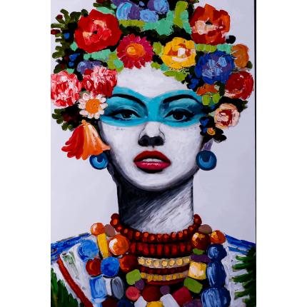 Ręcznie malowany obraz na płótnie - Kobieta z wiankiem