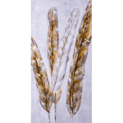 Ręcznie malowany obraz na płótnie – Złote pióra