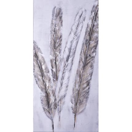 Ręcznie malowany obraz na płótnie – Srebrne pióra