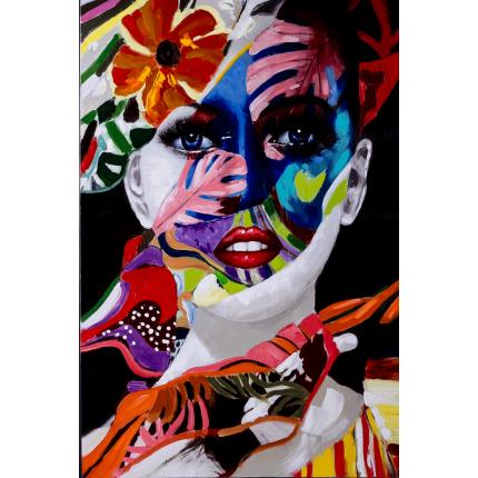 Ręcznie malowany obraz na płótnie - Kolorowa Twarz Kobiety
