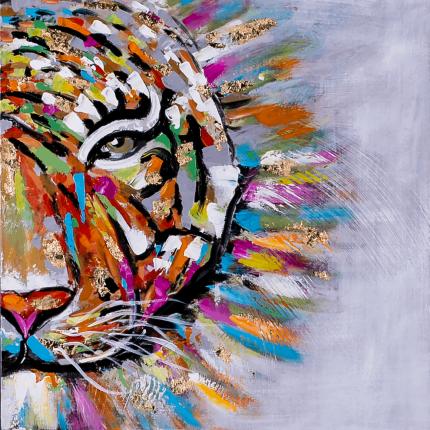 Ręcznie malowany obraz na płótnie –  Kolorowy Tygrys