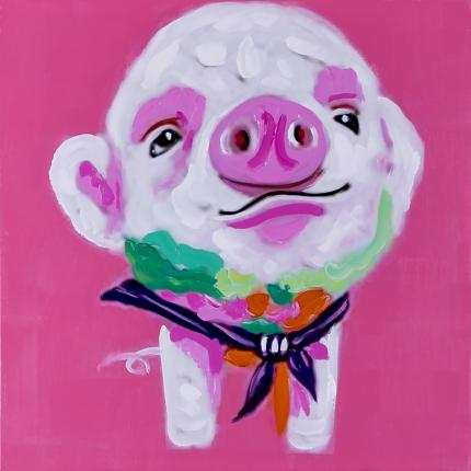Ręcznie malowany obraz na płótnie - Śmieszna Świnka