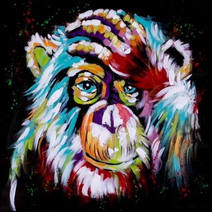 Ręcznie malowany obraz na płótnie - Kolorowy Orangutan