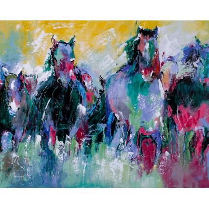Ręcznie malowany obraz na płótnie –  Konie w galopie