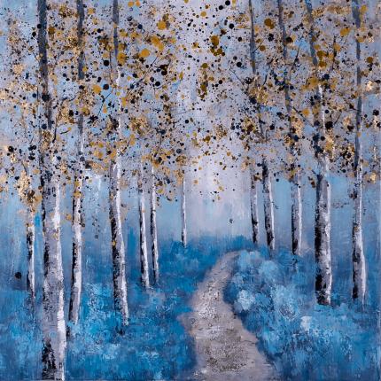 Ręcznie malowany obraz na płótnie – aleja drzew MHD0-10-46