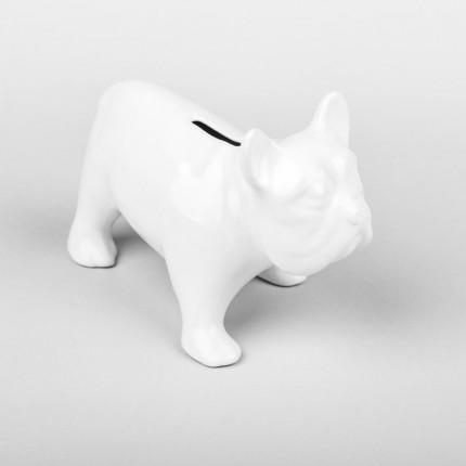Porcelanowa skarbonka dla dziecka biały piesek BULDOG MHD0-09-58