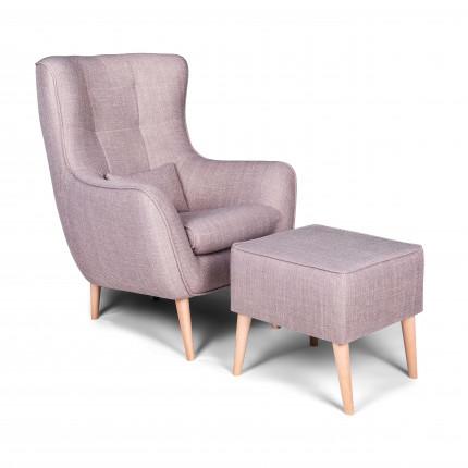 Nowoczesny fotel z podnóżkiem w kolorze beżowym MHT 237