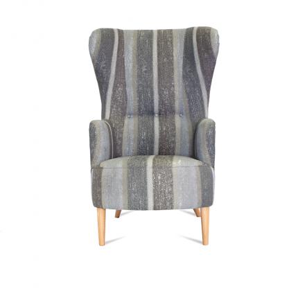 Wysoki, klasyczny fotel od ręki uszak MHT 119