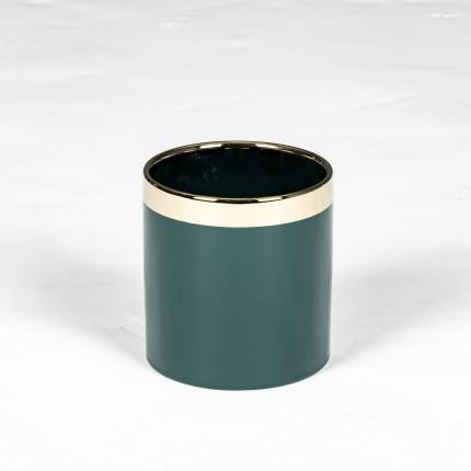 Doniczka ceramiczna zielona ze złotym zdobieniem MHD0-02-184