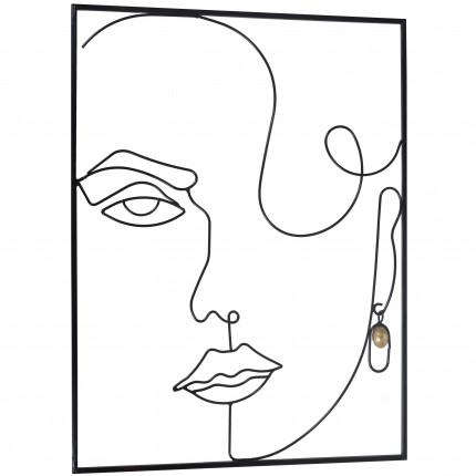 Metalowa ozdoba na ścianę twarz kobiety MHD0-09-53