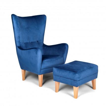 Niebieski fotel od ręki z podnóżkiem w zestawie MHT 200