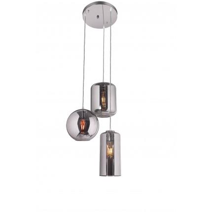 Lampa wisząca potrójna srebrne bryły MHL0-52