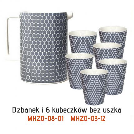 Zestaw: ceramiczny dzbanek i 6 kubeczków MHZ1-00-08