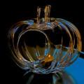 Szklany świecznik w kształcie dyni  MHD0-01-09