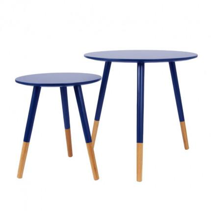 Zestaw dwóch niebieskich stolików kawowych MHS2-09