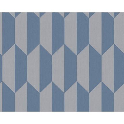 Tapeta w geometryczny wzór szaro-niebieski MHT0-43