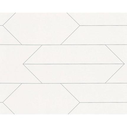 Tapeta biała w szary geometryczny wzór MHT0-44