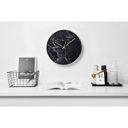 Czarny zegar ścienny imitujący marmur Cloudnola MHD0-08-16