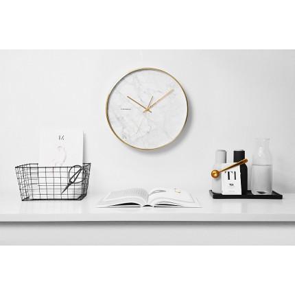 Biały zegar ścienny imitujący marmur Cloudnola MHD0-08-14