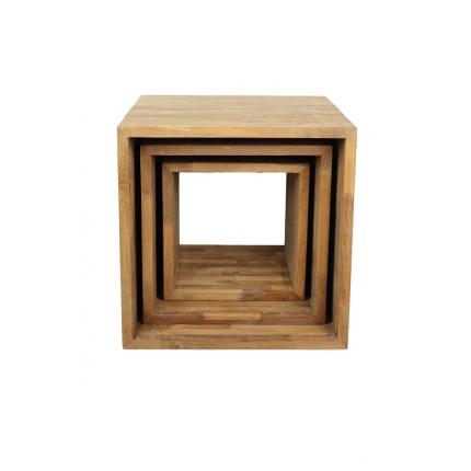 Zestaw trzech stolików kawowych z drewna tekowego MHS2-18