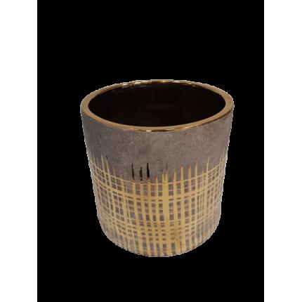 Duża szara ceramiczna donica ze złotym zdobieniem MHD0-02-137