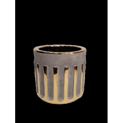 Szara ceramiczna donica ze złotym zdobieniem MHD0-02-136
