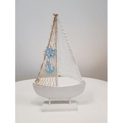 Figurka jacht drewniany z kotwicą i sterem MHD0-09-36