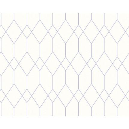 Tapeta beżowa z geometrycznym fioletowym wzorem MHT0-70