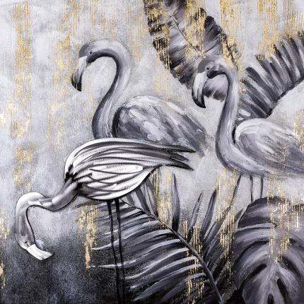 Ręcznie malowany obraz na płótnie –  Flamingi MHD0-10-32