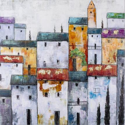 Ręcznie malowany obraz na płótnie – Kolorowe Domy