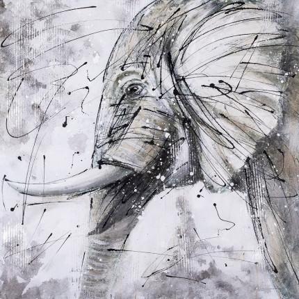 Ręcznie malowany obraz na płótnie –  Słoń MHD0-10-34