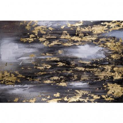 Ręcznie malowany obraz na płótnie –  Abstrakcja złoto-czarna MHD0-10-35