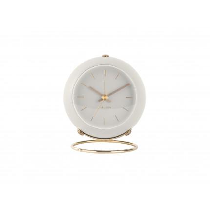Biały, mały zegar z budzikiem, na stojaku, Karlsson, MHD0-08-29