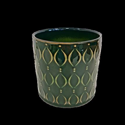 Ceramiczna, ozdobna doniczka, w kolorze butelkowej zieleni MHD0-02-171