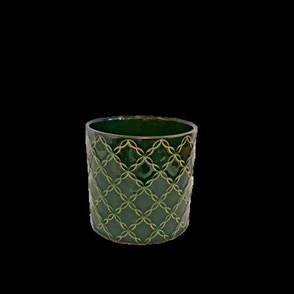 Ceramiczna, ozdobna doniczka, w kolorze butelkowej zieleni MHD0-02-72