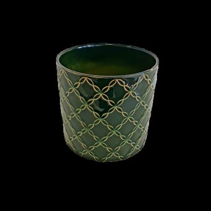 Ceramiczna, ozdobna doniczka, w kolorze butelkowej zieleni MHD0-02-74