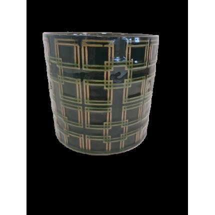 Ceramiczna, ozdobna doniczka, w kolorze butelkowej zieleni MHD0-02-75