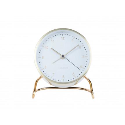 Złoty zegar z budzikiem na stojaku Karlsson MHD0-08-37