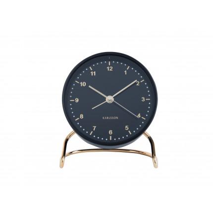 Czarny zegar z budzikiem na stojaku Karlsson MHD0-08-36