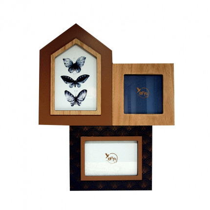 Potrójna ramka do zdjęć retro motyl MHD0-11-03